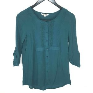 Tantrums Teal 3/4 Sleeve Blouse Size Large